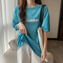 T-shirt White Lake Blue M L XL 2XL Summer 2021 Short sleeve Crew neck easy Regular routine commute cotton 31% (inclusive) - 50% (inclusive) 18-24 years old Korean version originality letter Jolindy D1 Cotton 31% others 69% Pure e-commerce (online only)