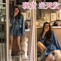 Women's large Spring 2020 Denim blue Large L, large XL, s, M Dress singleton  commute Self cultivation Cardigan Long sleeves Solid color Korean version Polo collar routine routine 18-24 years old Short skirt other