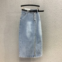 skirt Spring 2020 S,M,L,XL Light blue 10375# longuette street High waist skirt Solid color Type H 10375# 71% (inclusive) - 80% (inclusive) Denim Other / other cotton Button, stitching Europe and America