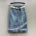 skirt Summer 2020 S,M,L,XL Blue 61002# Mid length dress commute High waist skirt Solid color Type H 61002# 81% (inclusive) - 90% (inclusive) Denim Other / other cotton Tassels, stitching Korean version