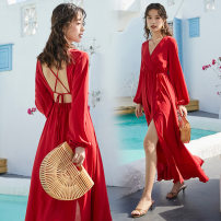 Dress Summer 2020 gules S,XL,L,M longuette singleton  Long sleeves Sweet V-neck Elastic waist Solid color Socket Irregular skirt routine Others 18-24 years old 71% (inclusive) - 80% (inclusive) other polyester fiber