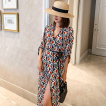 Dress Autumn of 2019 Picture color S,XL,L,M Mid length dress singleton  Nine point sleeve commute V-neck Decor pagoda sleeve Others 25-29 years old printing 71% (inclusive) - 80% (inclusive) other polyester fiber