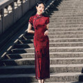 cheongsam Spring 2021 S M L XL XXL 3XL 4XL JL long lace with eight buttons of acetic acid red Short sleeve long cheongsam grace High slit daily Oblique lapel Decor 18-25 years old Piping HSC4160 Red house polyester fiber Polyester 92% polyurethane elastic fiber (spandex) 8%