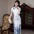 cheongsam Spring 2021 M L XL XXL 3XL 4XL B long white blue landscape Short sleeve long cheongsam Retro High slit daily Oblique lapel Decor 18-25 years old Piping HSC4150 Red house polyester fiber Polyester 92% polyurethane elastic fiber (spandex) 8% Exclusive payment of tmall
