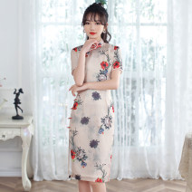 cheongsam Spring 2021 S M L XL XXL 3XL 4XL W medium and long Short sleeve Short cheongsam grace Low slit daily Oblique lapel Decor 18-25 years old Piping HSD4132 Red house polyester fiber Polyester 92% polyurethane elastic fiber (spandex) 8% Pure e-commerce (online only)