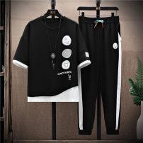Leisure sports suit Short sleeve summer Dream in Peach Garden Ninth pants teenagers T-shirt TYTZT0122-M polyester fiber Summer 2021 61% viscose 36% polyester 3% spandex White black M L XL 2XL 3XL