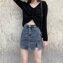 skirt Spring 2021 XS,S,M,L,XL blue Short skirt commute High waist A-line skirt Solid color Type A 18-24 years old 8730# 71% (inclusive) - 80% (inclusive) Denim cotton