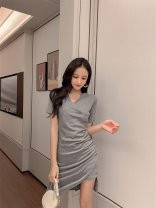 Dress Summer 2021 Gray, black XS , S , M , L , XL , Size XXS for height 145 - one hundred and fifty-five Short skirt singleton  Short sleeve Sweet V-neck High waist Solid color A-line skirt routine Others 18-24 years old Type A Zhenyaluo More than 95% other cotton solar system
