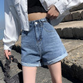 Jeans Summer 2021 Light blue shorts, dark blue shorts, grey shorts Xs, s, m, l, XL, XXS genuine small 145-155 shorts High waist Wide legged trousers routine 18-24 years old Wash, flanging, zipper, button, multi pocket, others other Dark color Zhenyaluo 96% and above