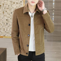Jacket Akeshi Youth fashion M L XL 2XL 3XL 4XL routine Self cultivation Other leisure spring Cotton 98.8% polyurethane elastic fiber (spandex) 1.2% Long sleeves Wear out Lapel Business Casual youth routine Single breasted Cloth hem No iron treatment Closing sleeve Solid color corduroy Spring 2021