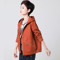Middle aged and old women's wear Spring 2021 Black (spring and Autumn) orange (spring and Autumn) black (autumn and winter with cotton) orange (autumn and winter with cotton) leisure time Jacket / jacket easy singleton  Solid color 40-49 years old Cardigan moderate Hood Short (length 35-50cm) routine