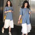 Dress Puff puff Blue and white M,L,XL,XXL Versatile Short sleeve Medium length summer Crew neck Solid color 9993#