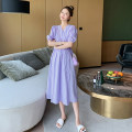Dress Puff puff Purple dress M,L,XL,XXL Korean version Short sleeve Medium length summer V-neck Solid color Pure cotton (95% and above) WS008485