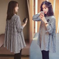 suit Puff puff Plaid top, plaid Top + black belly pants M,L,XL,XXL Korean version Long sleeve + pants spring and autumn routine lattice WS000991 Cotton liner