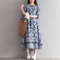 Dress Puff puff Decor M,L,XL ethnic style elbow sleeve Medium length summer Crew neck Decor hemp