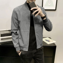 Jacket Other / other Business gentleman M,L,XL,2XL,3XL,4XL routine Self cultivation Other leisure spring Polyester 100% Long sleeves Wear out Baseball collar Exquisite Korean style youth routine Zipper placket 2021 Rubber band hem Sanding Closing sleeve other other Side seam pocket