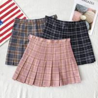 skirt Summer of 2018 XS,S,M,L Red, gray, Navy, pink Short skirt Versatile High waist Pleated skirt lattice Type A other