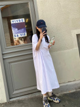 Dress Spring 2021 White, gray, blue, black Average size Mid length dress singleton  Short sleeve commute Crew neck High waist Socket A-line skirt routine Others 18-24 years old Type H y55016 More than 95% other