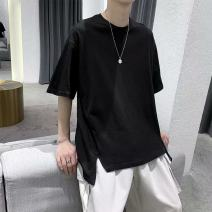 T-shirt Fashion City Black, white, grey thin S,M,L,XL,2XL,3XL Others elbow sleeve Crew neck easy Other leisure summer five point one one teenagers routine like a breath of fresh air 2020 Solid color make a slit or vent other Fashion brand