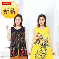 Middle aged and old women's wear Summer 2020 Average size: recommended weight less than 180 Jin Home Dress easy singleton  Big flower 50-59 years old thin Crew neck Other / other cotton 91% (inclusive) - 95% (inclusive) Medium length other