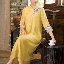 Dress Summer 2021 Pink yellow M L XL XXL Mid length dress singleton  three quarter sleeve commute stand collar Loose waist Solid color Socket A-line skirt other Others 25-29 years old Type A Qingqiluo Retro Embroidered stitching CQL2903-1 31% (inclusive) - 50% (inclusive) other nylon