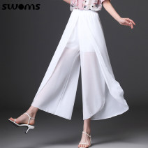 Casual pants White, black, blue M L XL 2XL 3XL 4XL 5XL Summer 2021 Ninth pants Wide leg pants High waist commute Thin money SNR2118 SWOMS / Si Weimin literature Polyester 100% Pure e-commerce (online only)
