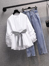 Women's large Summer 2021 White shirt + pants blue striped shirt + pants single white shirt single blue striped shirt single pants L (within reference 100-120 kg) XL (within reference 120-140 kg) 2XL (within reference 140-160 kg) 3XL (within reference 160-180 kg) 4XL (within reference 180-200 kg) bow