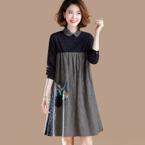 Dress Spring 2021 black M,L,XL,2XL,3XL,4XL Mid length dress singleton  Long sleeves commute Doll Collar Loose waist lattice Socket other routine Others 30-34 years old Type A Plain wood Korean version Splicing 51% (inclusive) - 70% (inclusive) other cotton