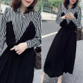 Dress Spring 2021 black S,M,L Mid length dress singleton  Long sleeves street Polo collar High waist Solid color Socket A-line skirt routine Type A bobowaltz B193y08216p More than 95% polyester fiber Europe and America