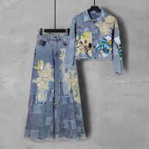 Fashion suit Spring 2021 S M L XL 2XL Blue (two piece set) 7 days delivery Over 35 years old Duo Yue Other 100% Pure e-commerce (online only)