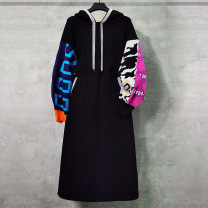 Dress Winter 2020 black S M L XL 2XL Mid length dress singleton  Long sleeves commute Hood middle-waisted Abstract pattern Socket other other 35-39 years old Duo Yue lady Tassel chain More than 95% other Other 100% Pure e-commerce (online only)