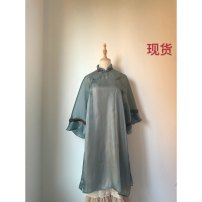 Dress Summer of 2019 Turquoise green (in stock), with golden peach, another purchase, find customer service to link S. M, print 5 pieces