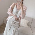 Dress Spring 2021 White, black, light apricot Average size: s suggests less than 105 kg, m suggests less than 120 kg, l suggests less than 135 kg Mid length dress singleton  Sleeveless commute V-neck Loose waist camisole ubffeyes Korean version ub1985 51% (inclusive) - 70% (inclusive) knitting