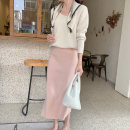 skirt Winter of 2019 Average size Beige, pink Mid length dress commute High waist A-line skirt Solid color Type A 30% and below other ubffeyes other Korean version