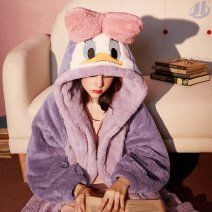 Nightgown / bathrobe Dream of comfort female S 150-157CM,M 158-163CM,L 163-168CM,XL 168-173CM Violet, pink, sky blue, purple, peach, pink star thickening I41280