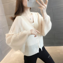 Wool knitwear Spring 2021 S M L XL Off white black Long sleeves singleton  Cardigan other More than 95% Regular Thin money commute easy V-neck raglan sleeve Solid color Single breasted Korean version KY2327GZ 18-24 years old Kou language Other 100% Pure e-commerce (online only)