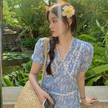 Dress Summer 2021 singleton  Short sleeve commute V-neck High waist Broken flowers Others 18-24 years old Type A Other / other Korean version a5.10 30% and below S,M M-blue-b19, color it-s44