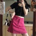 skirt Summer 2021 S,M,L rose red Short skirt commute High waist A-line skirt Solid color Type A brocade Korean version
