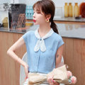 Lace / Chiffon Summer 2020 blue S M L XL 2XL Short sleeve Sweet Cardigan singleton  easy Regular Scarf Collar other routine 25-29 years old The west of Xuan XZX520201207 Pleated lace up stitching open line decorative button mesh Other 100%