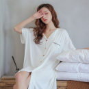 Nightdress VIRRI CIAGA White, black M size (suitable for 80-100kg), average size (suitable for 95-129kg) sexy Short sleeve Leisure home Middle-skirt summer Solid color youth Shirt collar cotton One piece More than 95% pure cotton EE09042103