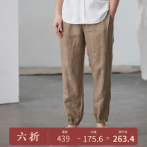 Casual pants other Khaki, black M,L,XL,2XL routine trousers motion easy No bullet summer youth Japanese Retro 2020 middle-waisted Little feet Flax 100% Sports pants pocket Solid color plain cloth hemp hemp Original designer