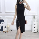 Dress Spring of 2019 Red, black Average size Miniskirt singleton  Sleeveless Elastic waist Socket 18-24 years old Other / other More than 95% knitting cotton