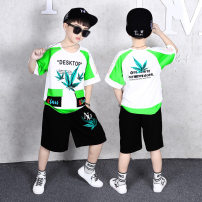suit Other / other white 110cm,120cm,130cm,140cm,150cm,160cm,170cm male summer Korean version Short sleeve + pants 2 pieces Thin money There are models in the real shooting Socket letter Pure cotton (100% cotton content) children Expression of love Class B