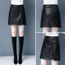 skirt Autumn 2020 26/S 27/M 28/L 29/XL 30/2XL 31/3XL black Short skirt commute High waist A-line skirt Solid color Type A 30-34 years old GZY--1995 71% (inclusive) - 80% (inclusive) Gozii Viscose Buttons and zippers with open line decoration Korean version Viscose (viscose) 77.7% polyester 22.3%