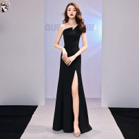 Dress / evening wear The company's annual convention performs daily appointments S M L XL XXL XXXL Korean version longuette middle-waisted Winter of 2018 Self cultivation Single shoulder type zipper 18-25 years old Sleeveless Solid color Besnig Other 100% Pure e-commerce (online only) other