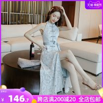 Dress Summer 2021 Cheongsam Style Lace Skirt S M L XL longuette singleton  Sleeveless commute stand collar High waist Solid color Socket A-line skirt other Hanging neck style 25-29 years old Type A unenow Retro Button zipper lace slim UN0SS185 More than 95% other Other 100%