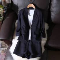suit Winter 2016 dark blue L,XL,2XL,3XL,4XL,5XL three quarter sleeve routine Self cultivation tailored collar commute routine Solid color 25-29 years old 96% and above hemp