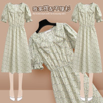 Dress Summer 2021 217167 green dress S M L XL Mid length dress singleton  Short sleeve commute Doll Collar High waist Broken flowers Socket Ruffle Skirt bishop sleeve Others 25-29 years old Type A Onedawm / Chuli Korean version Ruffle pleated stitching Beaded printing 217167#1 More than 95% Chiffon