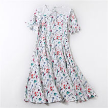 Dress Summer 2020 Blue, white 4,6,8,10 Mid length dress singleton  Short sleeve commute Crew neck Loose waist Decor Socket other Others Ol style printing 20430ZSD 91% (inclusive) - 95% (inclusive) silk