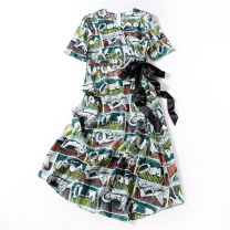 Dress Summer 2020 Decor M,L,XL Mid length dress singleton  Short sleeve commute V-neck middle-waisted other Socket A-line skirt routine Others Type X Ol style Strap, zipper More than 95% Crepe de Chine silk
